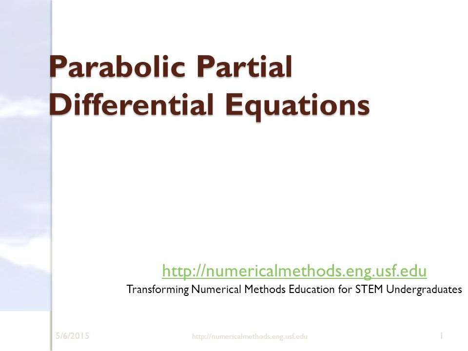 heat equation from partial differential equations Numerical solutions to partial di erential equations zhiping li methods for parabolic equations a model problem and its di erence approximations 1-d initial boundary value problem of heat equation finite di erence methods for parabolic equations.