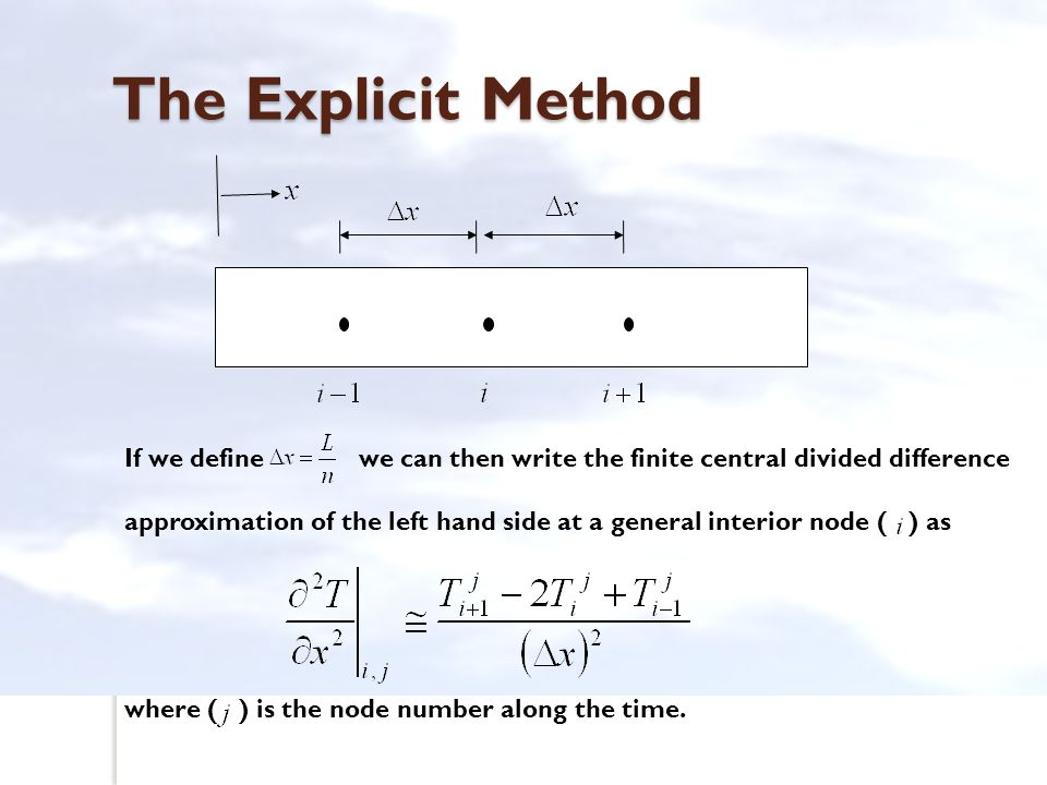 The Explicit Method If we define we can then write the finite central divided difference.