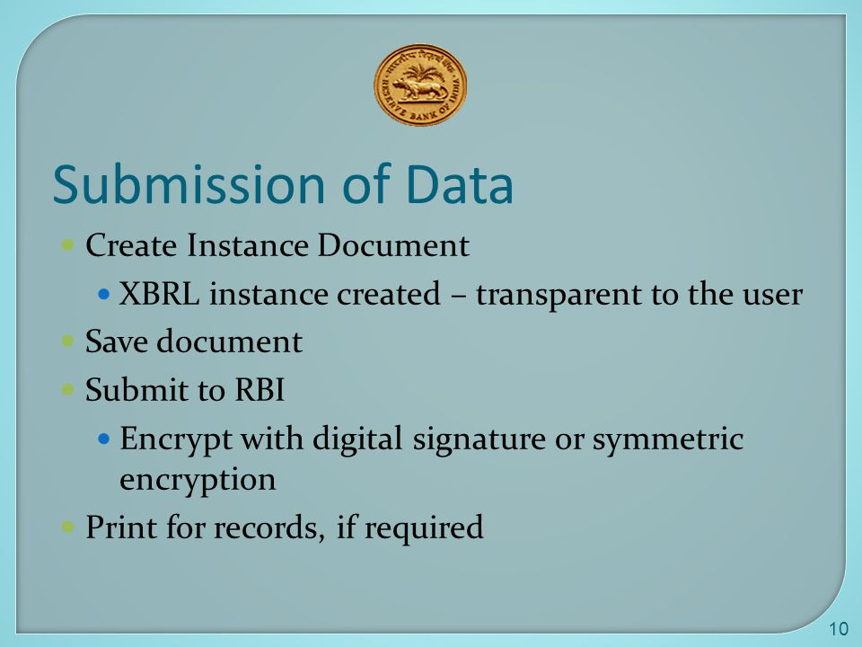 Submission of Data Create Instance Document