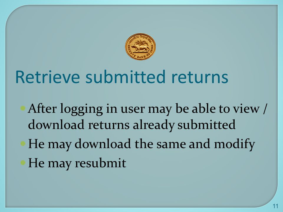 Retrieve submitted returns
