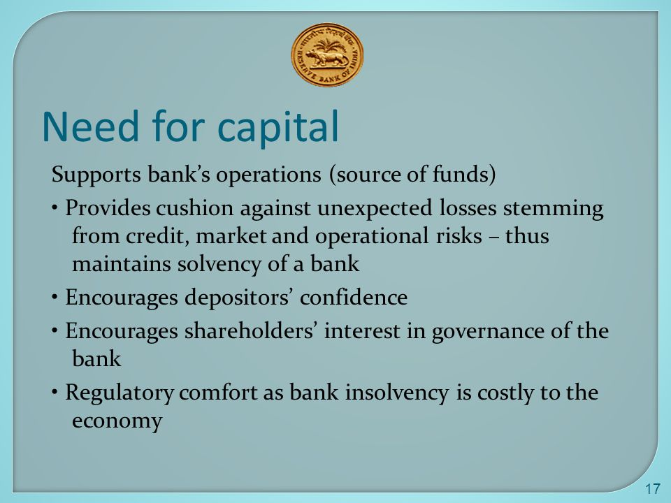 Need for capital Supports bank's operations (source of funds)