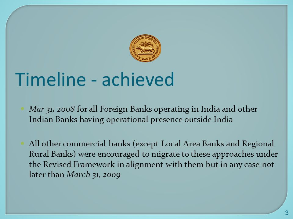 Timeline - achieved Mar 31, 2008 for all Foreign Banks operating in India and other Indian Banks having operational presence outside India.
