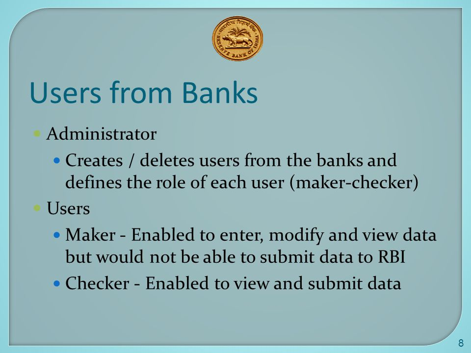 Users from Banks Administrator