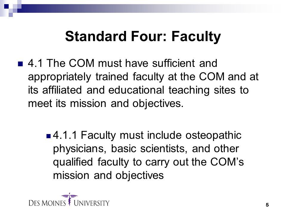 Standard Four: Faculty