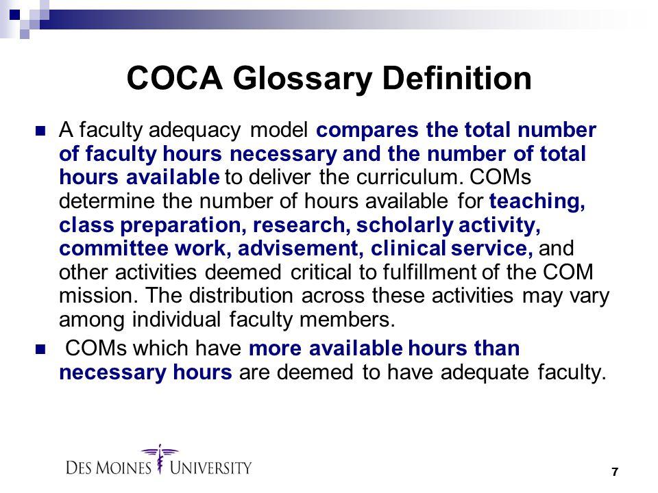 COCA Glossary Definition