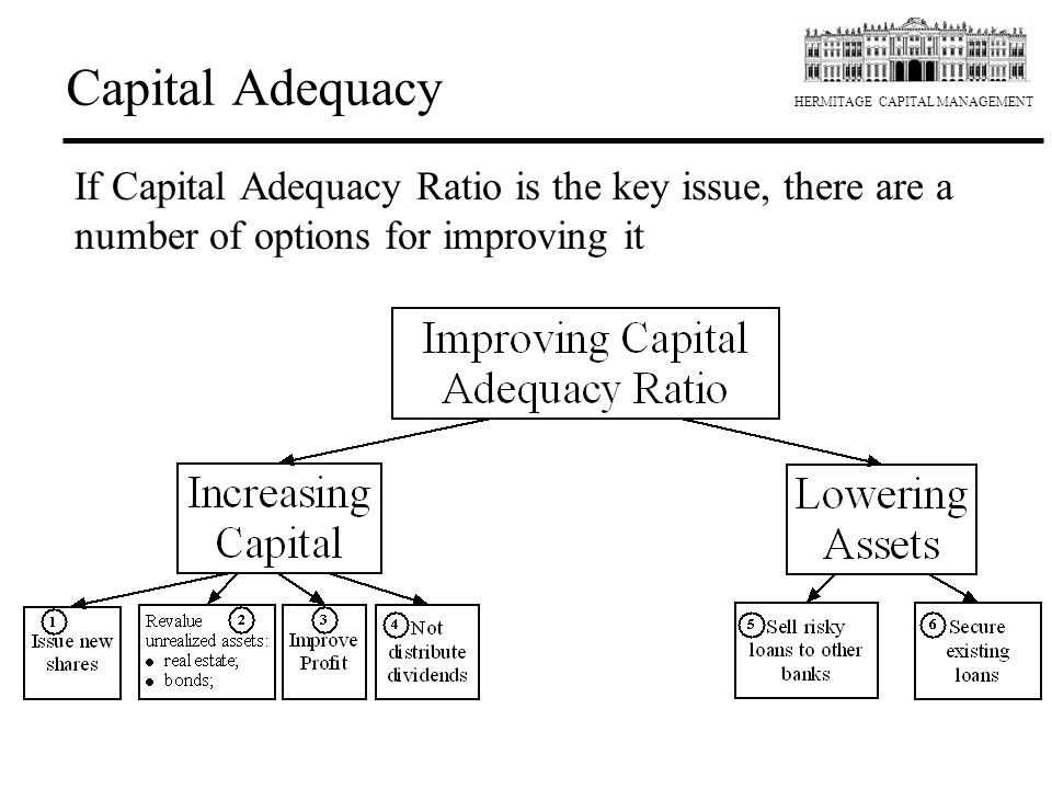 Capital Adequacy If Capital Adequacy Ratio is the key issue, there are a number of options for improving it.