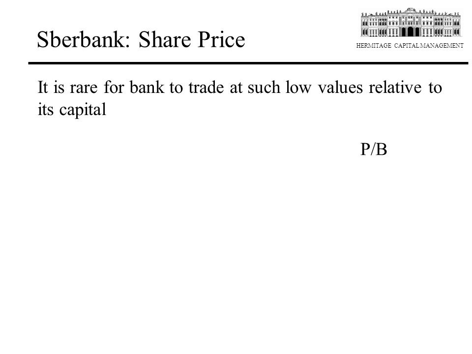 Sberbank: Share Price It is rare for bank to trade at such low values relative to its capital P/B 2