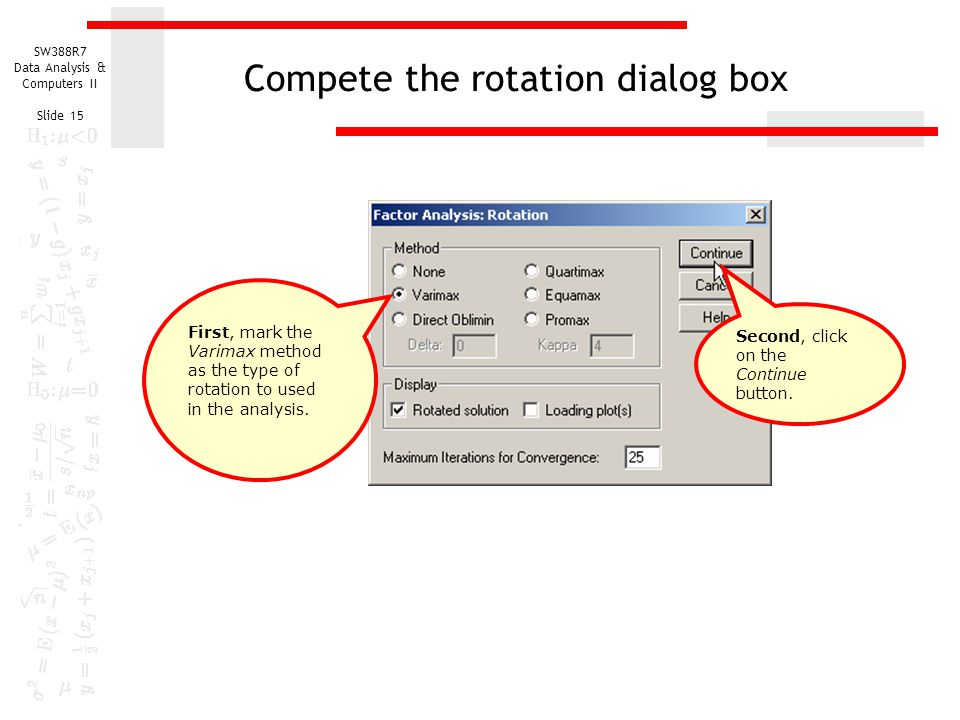 Compete the rotation dialog box