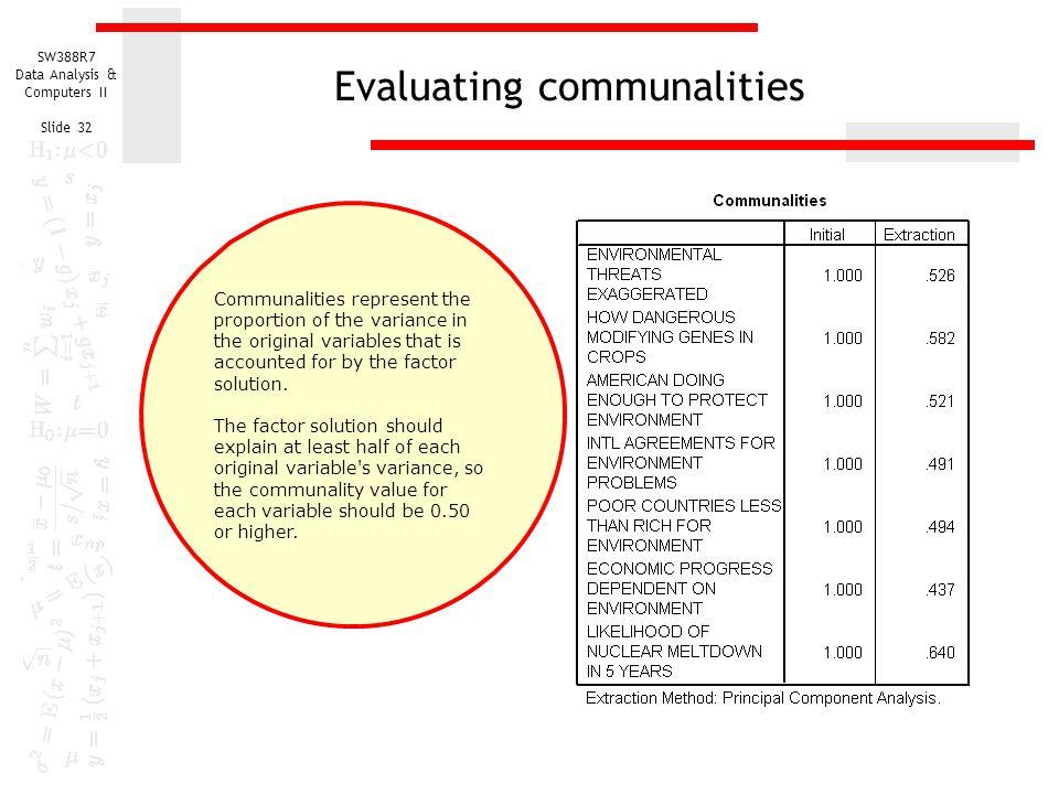 Evaluating communalities