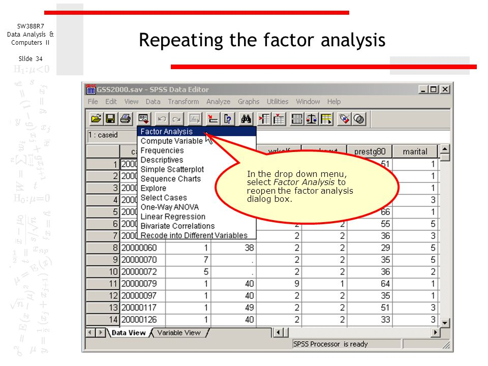 Repeating the factor analysis