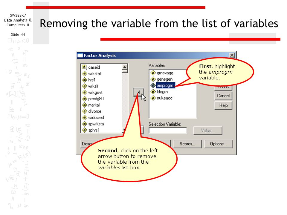 Removing the variable from the list of variables