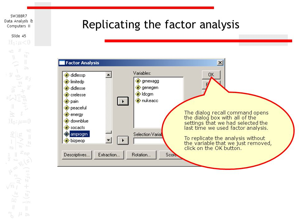 Replicating the factor analysis