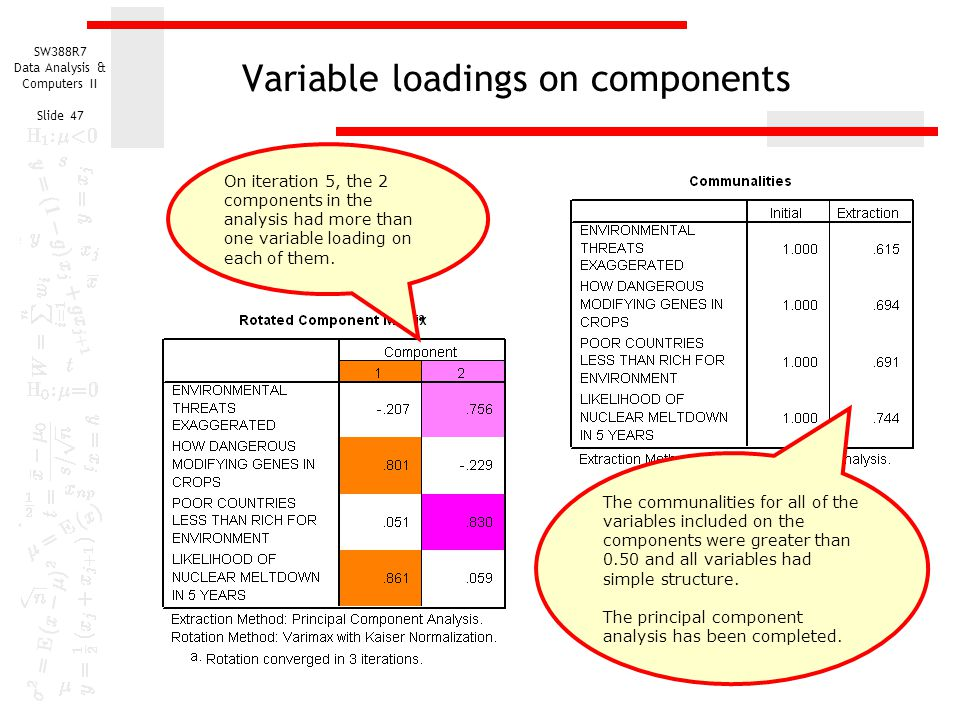 Variable loadings on components