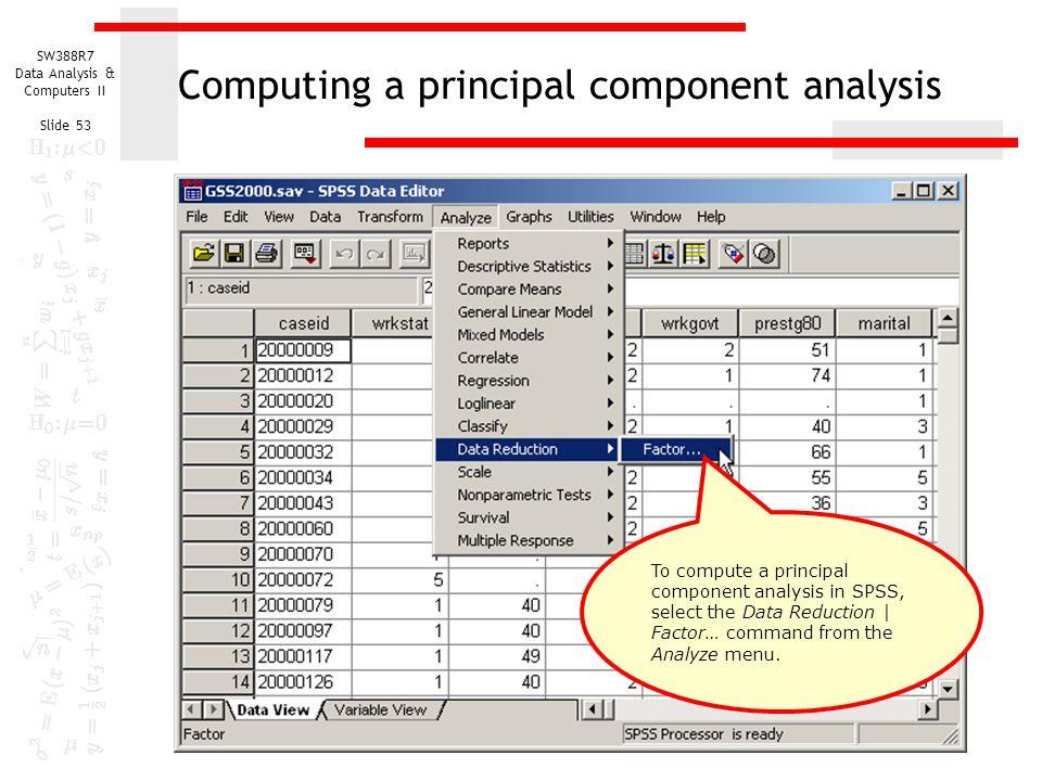 Computing a principal component analysis
