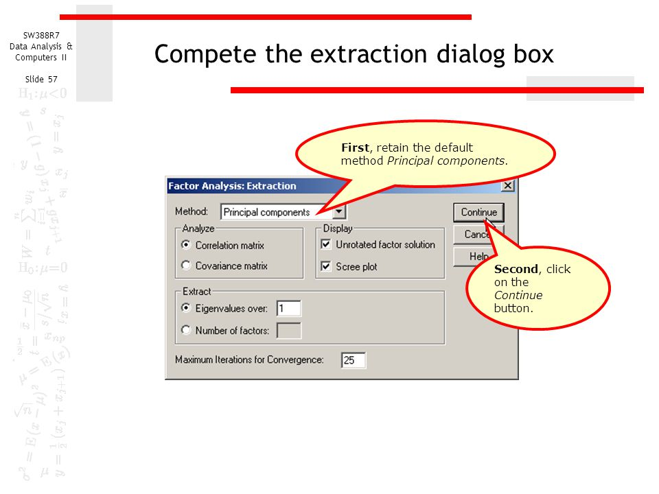 Compete the extraction dialog box