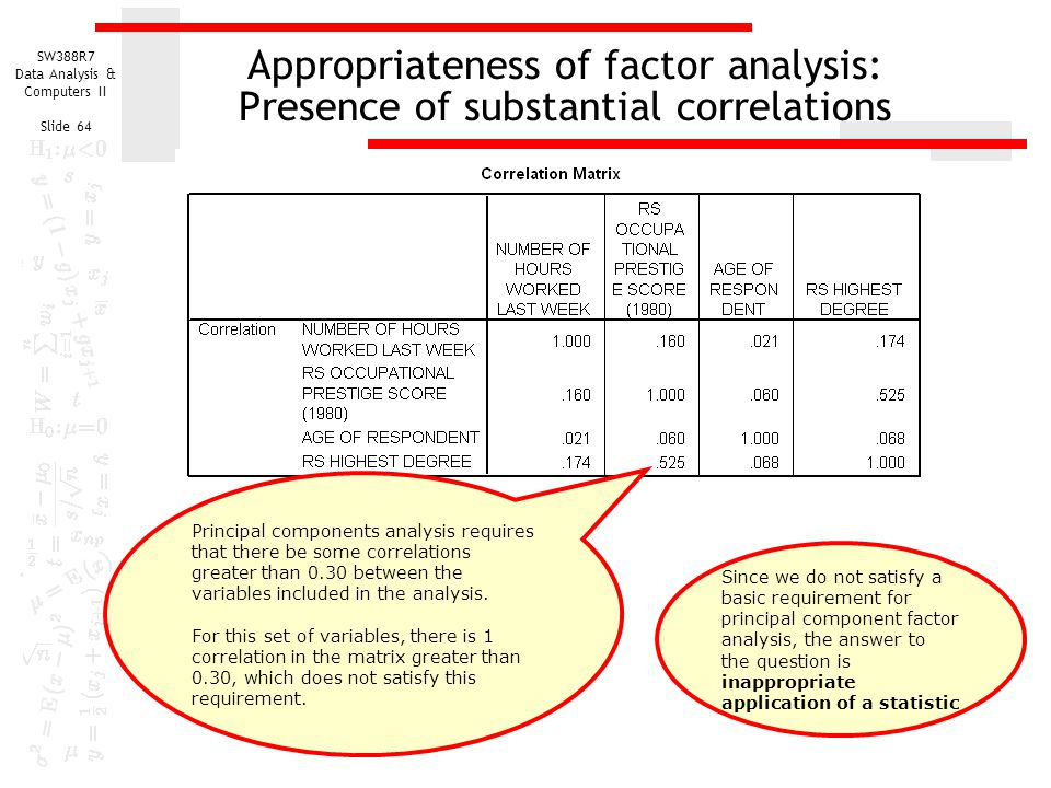 Appropriateness of factor analysis: Presence of substantial correlations