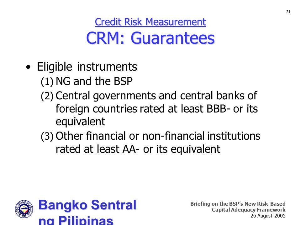 Credit Risk Measurement CRM: Guarantees