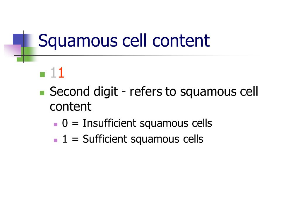 Squamous cell content 11. Second digit - refers to squamous cell content. 0 = Insufficient squamous cells.