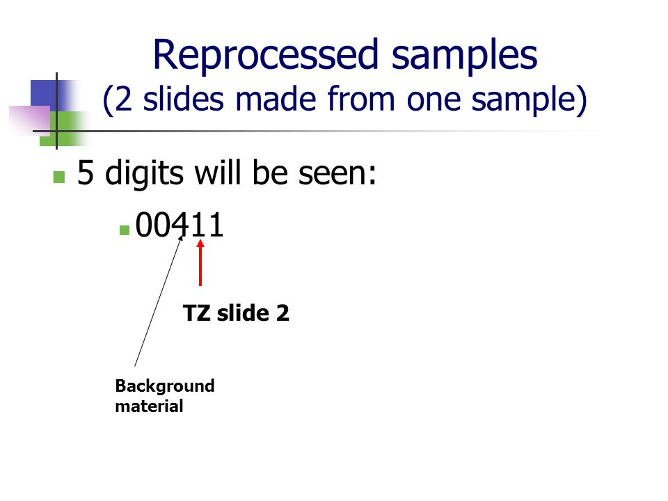 Reprocessed samples (2 slides made from one sample)
