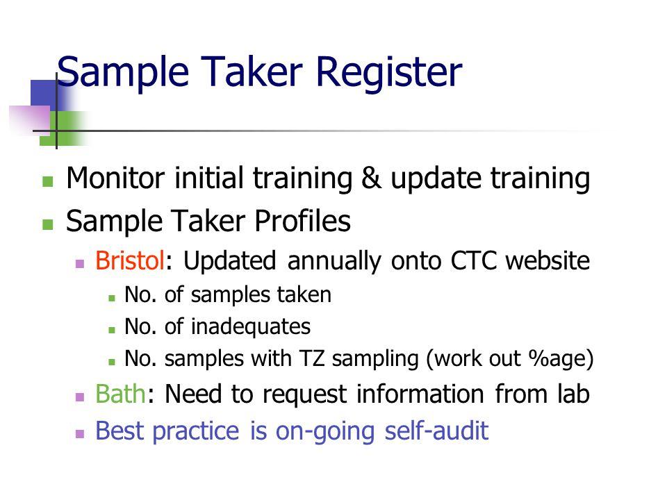 Sample Taker Register Monitor initial training & update training