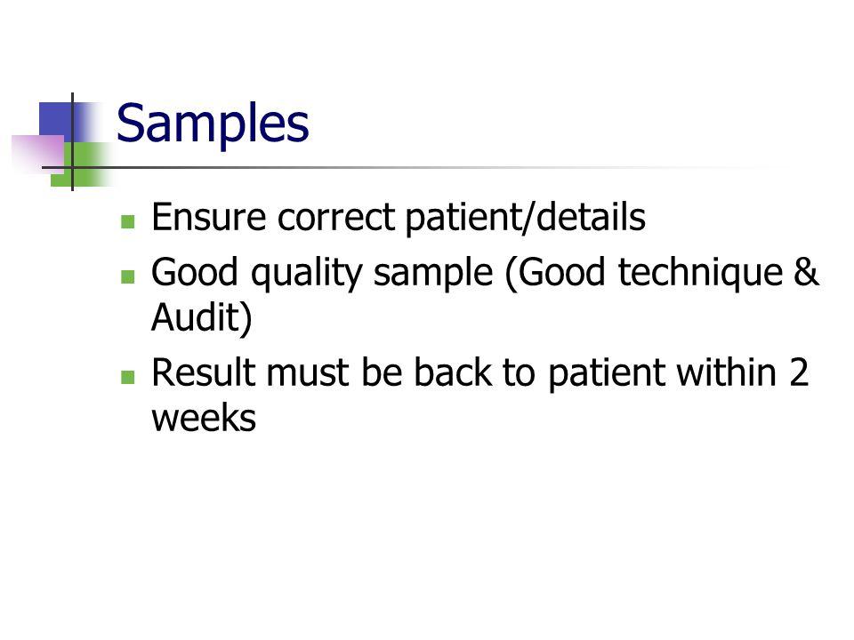 Samples Ensure correct patient/details