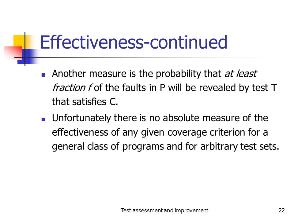 Effectiveness-continued