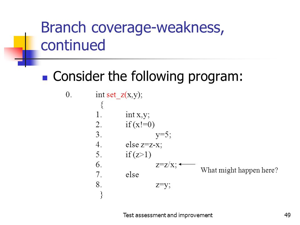 Branch coverage-weakness, continued