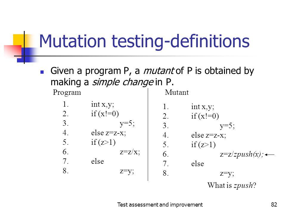 Mutation testing-definitions