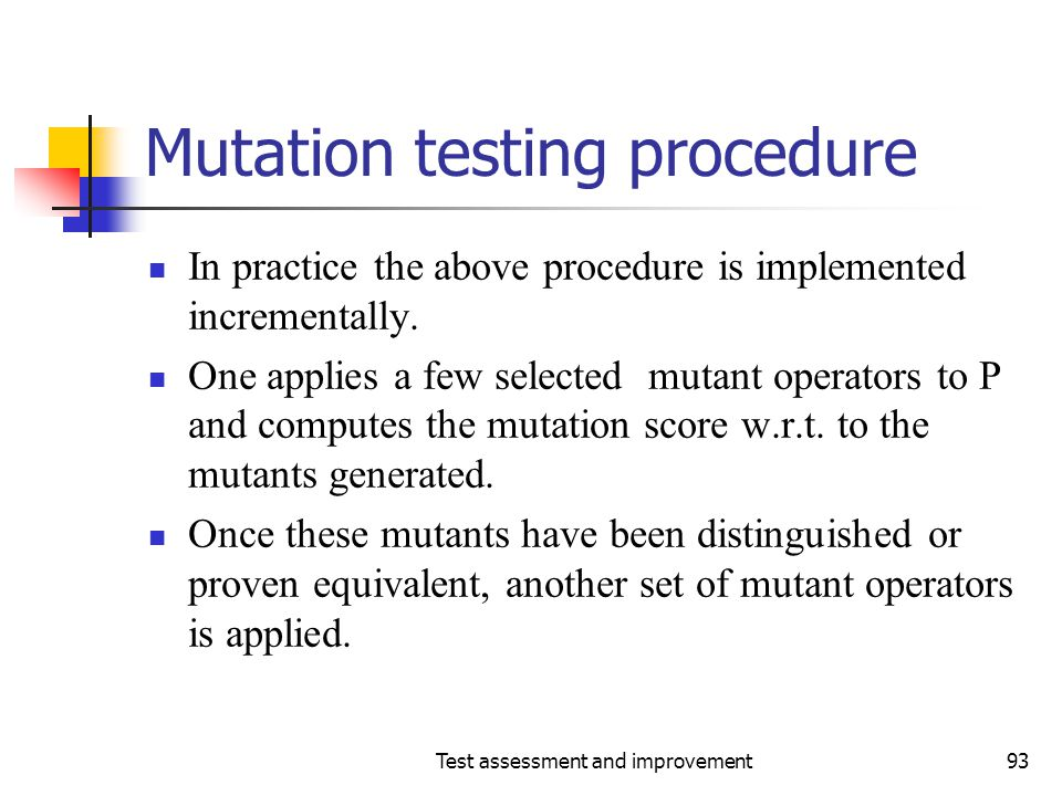 Mutation testing procedure