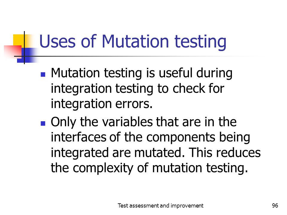 Uses of Mutation testing