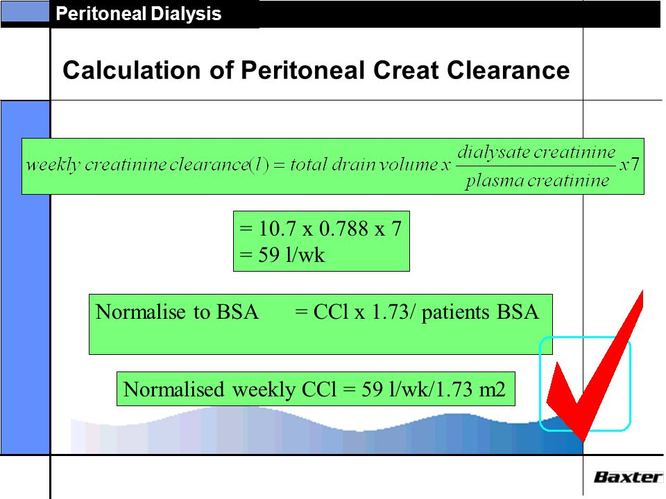 Calculation of Peritoneal Creat Clearance