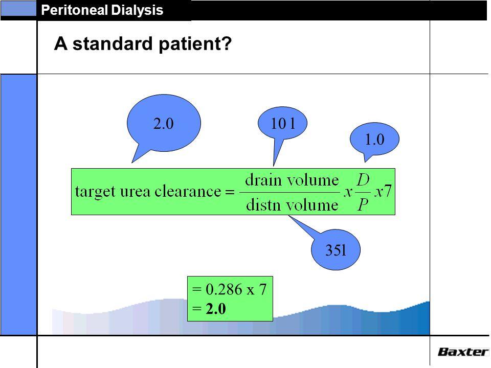 A standard patient 2.0 10 l 1.0 35l = 0.286 x 7 = 2.0