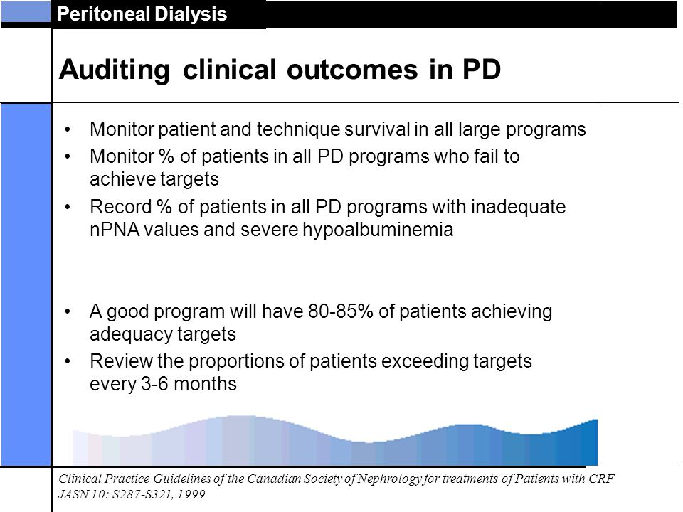Auditing clinical outcomes in PD