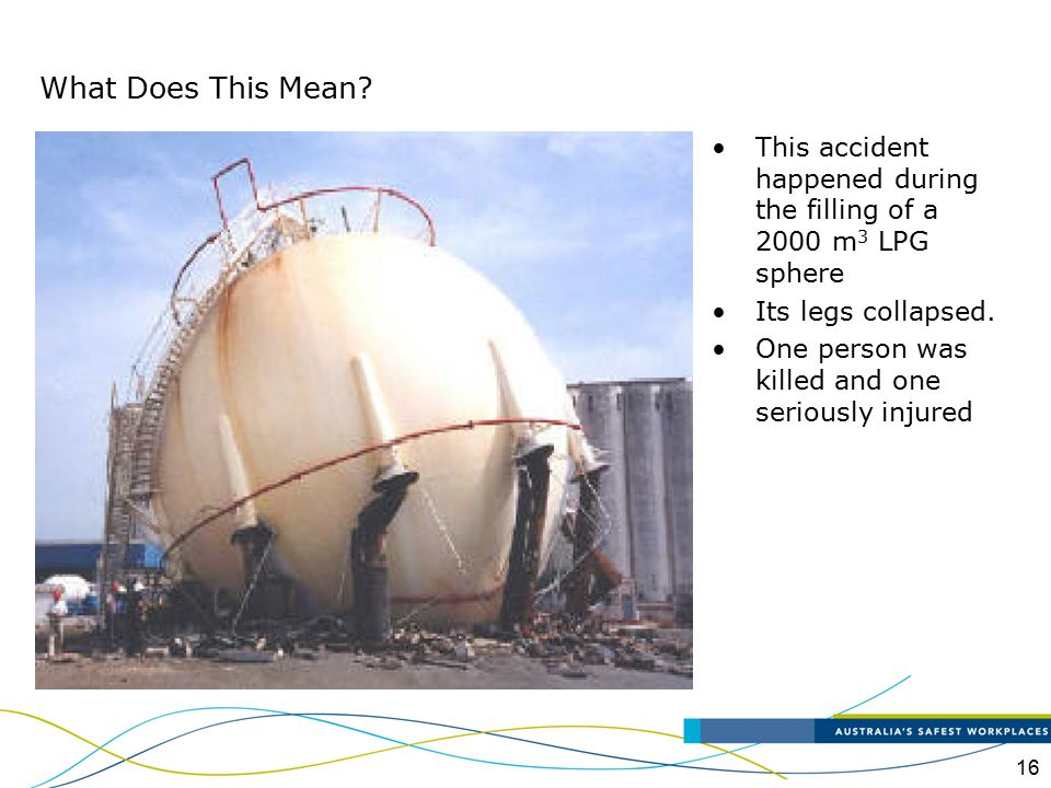 What Does This Mean This accident happened during the filling of a 2000 m3 LPG sphere. Its legs collapsed.