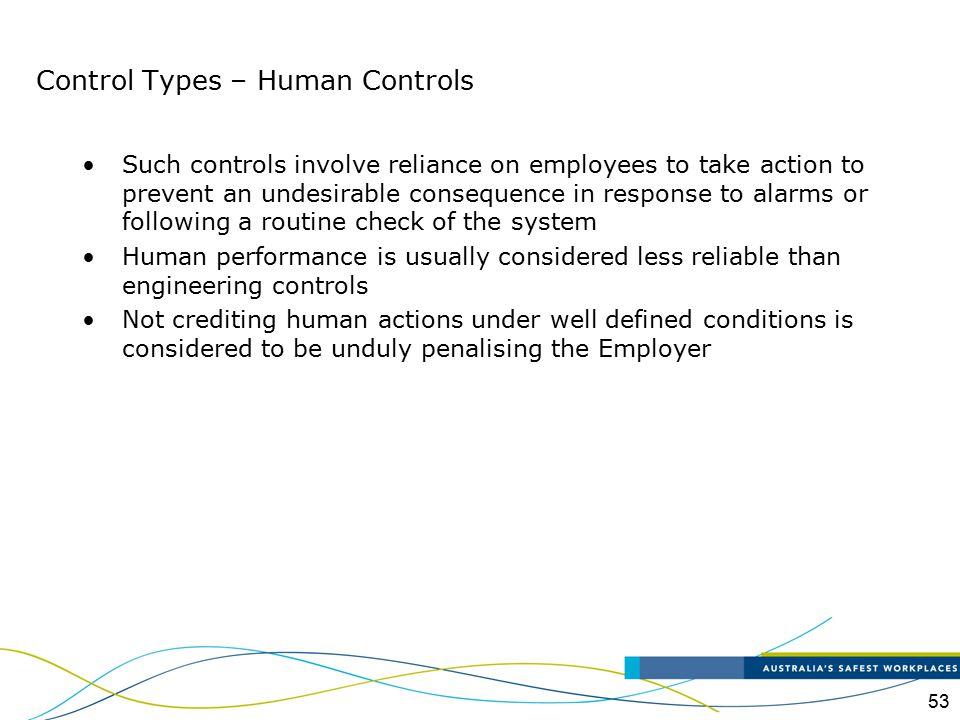 Control Types – Human Controls