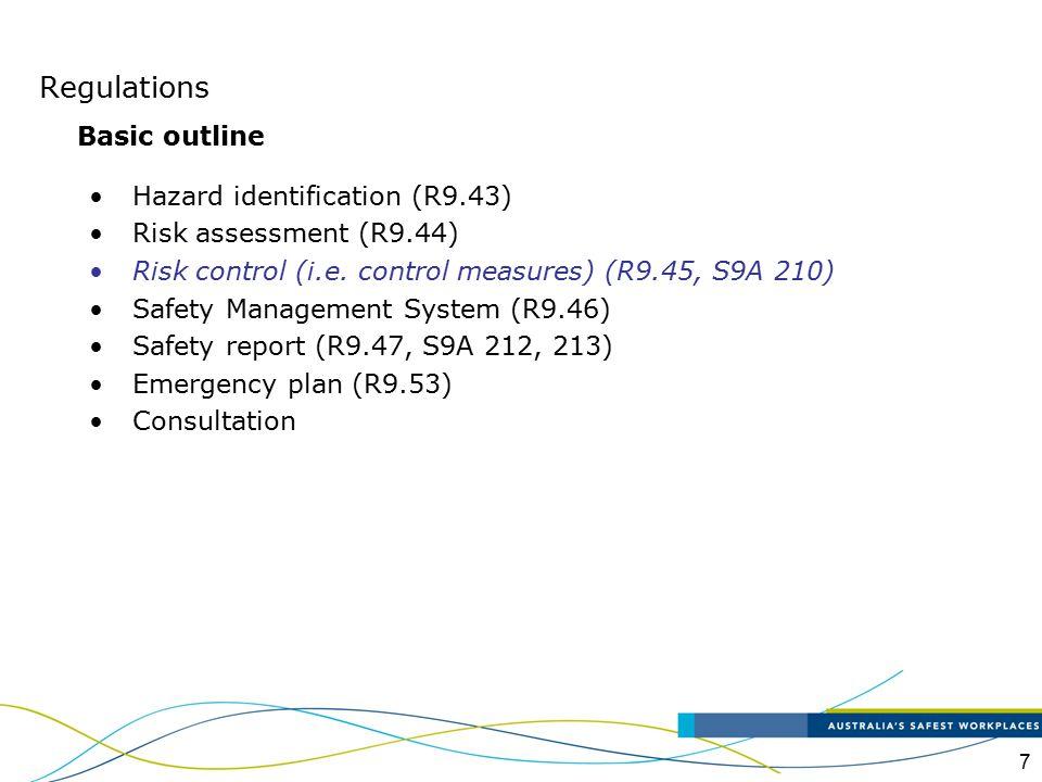 Regulations Basic outline Hazard identification (R9.43)