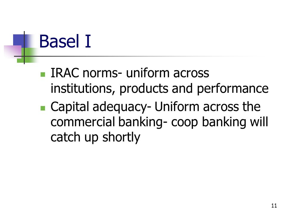 Basel I IRAC norms- uniform across institutions, products and performance.