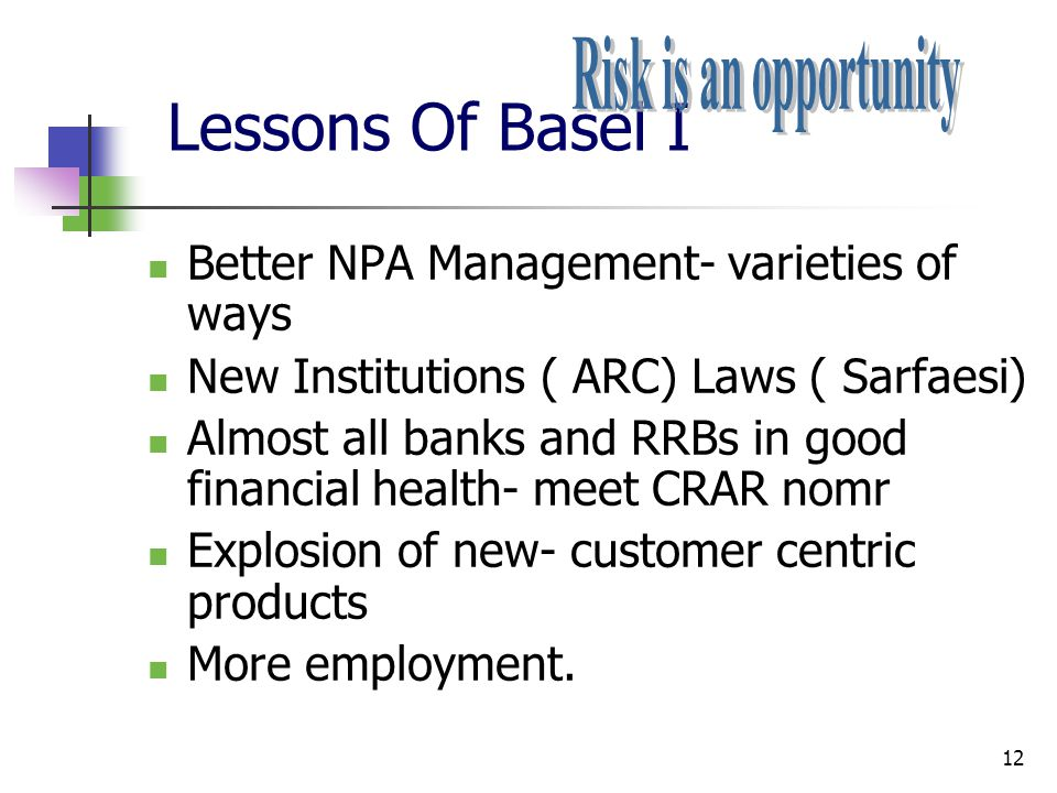 Lessons Of Basel I Risk is an opportunity