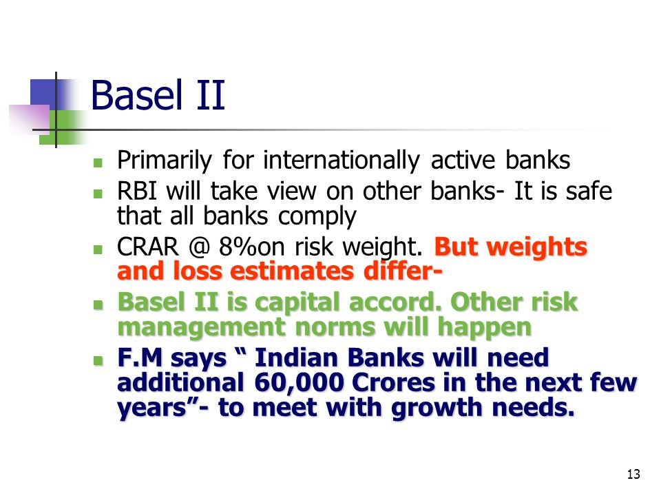 Basel II Primarily for internationally active banks