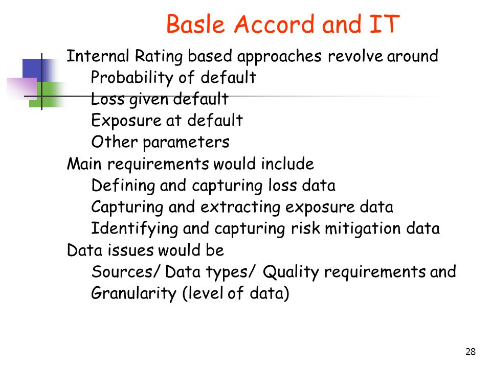 Basle Accord and IT Internal Rating based approaches revolve around