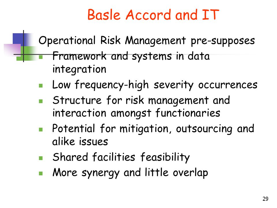 Basle Accord and IT Operational Risk Management pre-supposes
