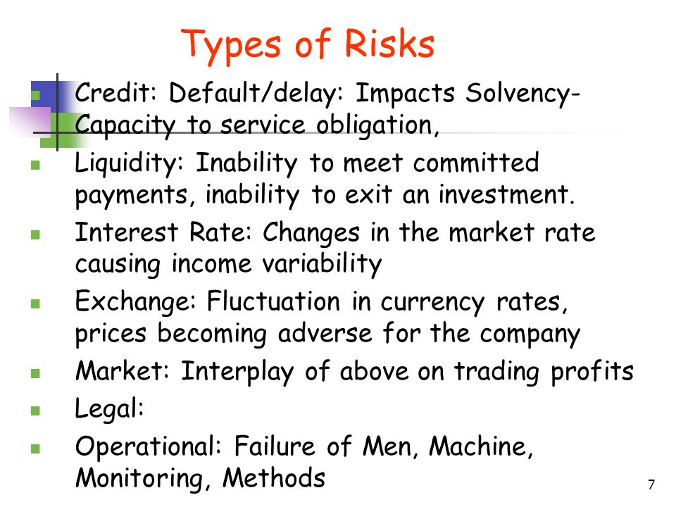 Types of Risks Credit: Default/delay: Impacts Solvency-Capacity to service obligation,
