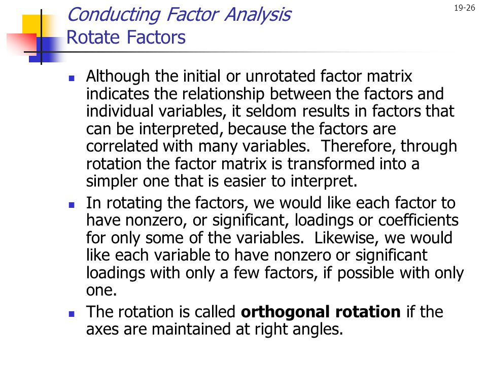 Conducting Factor Analysis Rotate Factors