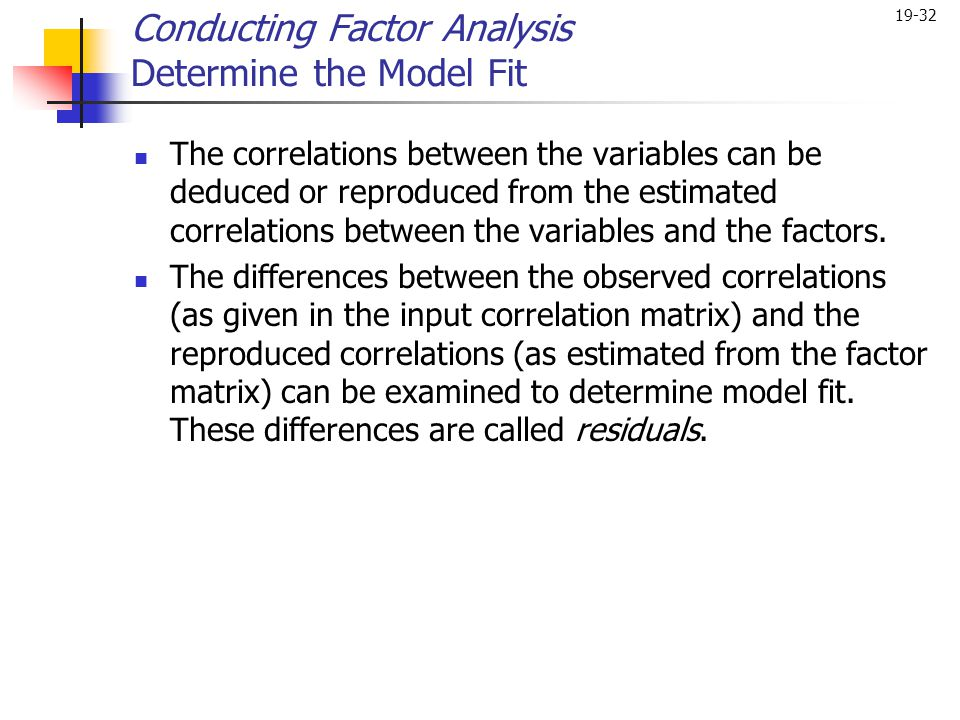 Conducting Factor Analysis Determine the Model Fit