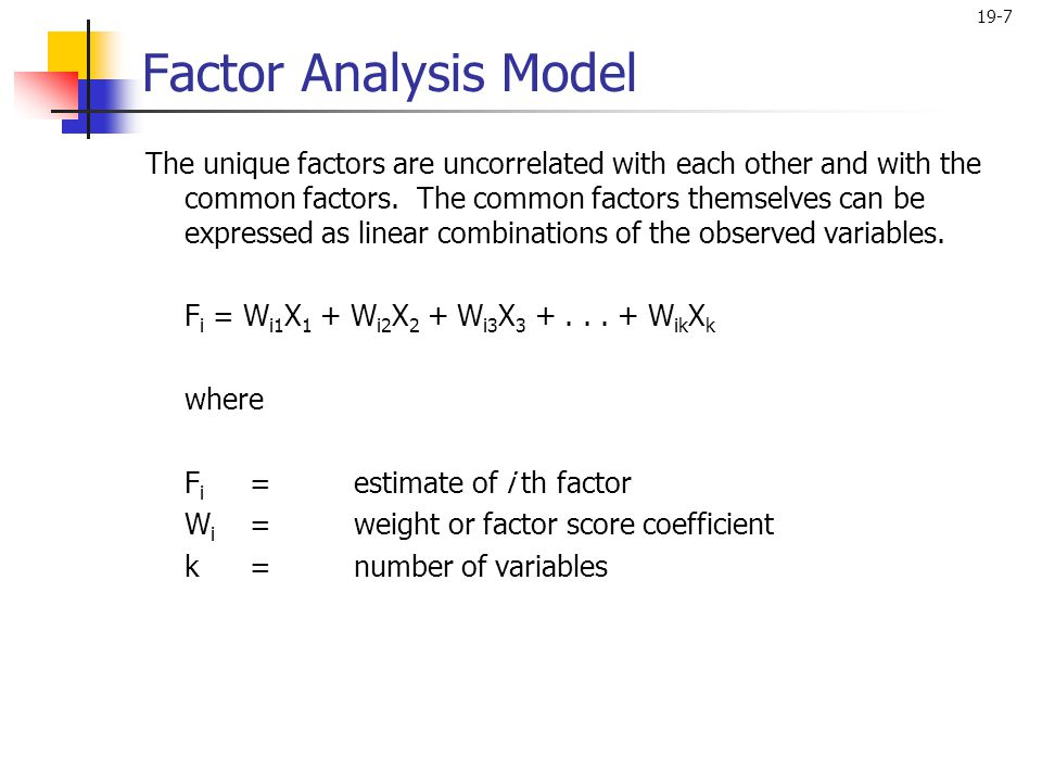 Factor Analysis Model