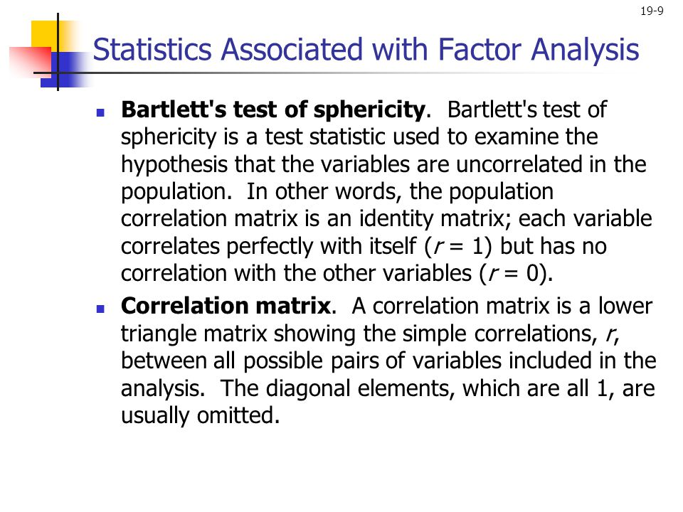 Statistics Associated with Factor Analysis