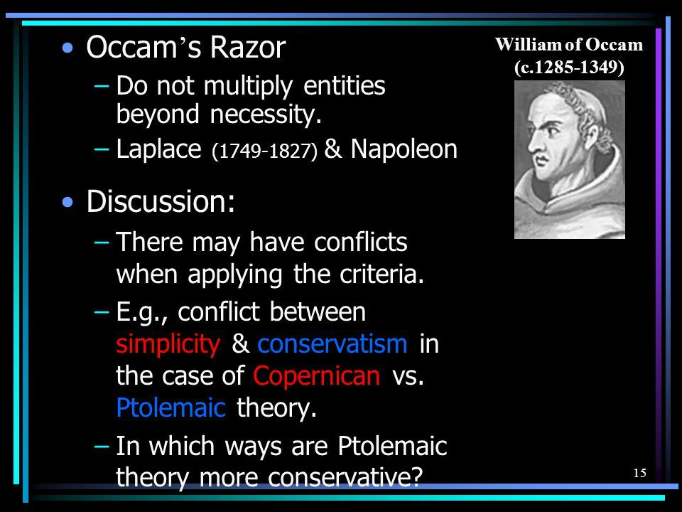 Occam's Razor Discussion: Do not multiply entities beyond necessity.
