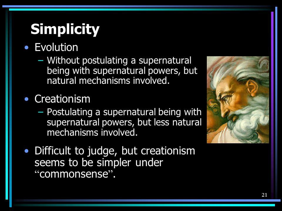 Simplicity Evolution Creationism
