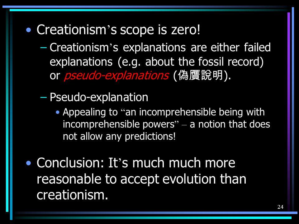 Creationism's scope is zero!