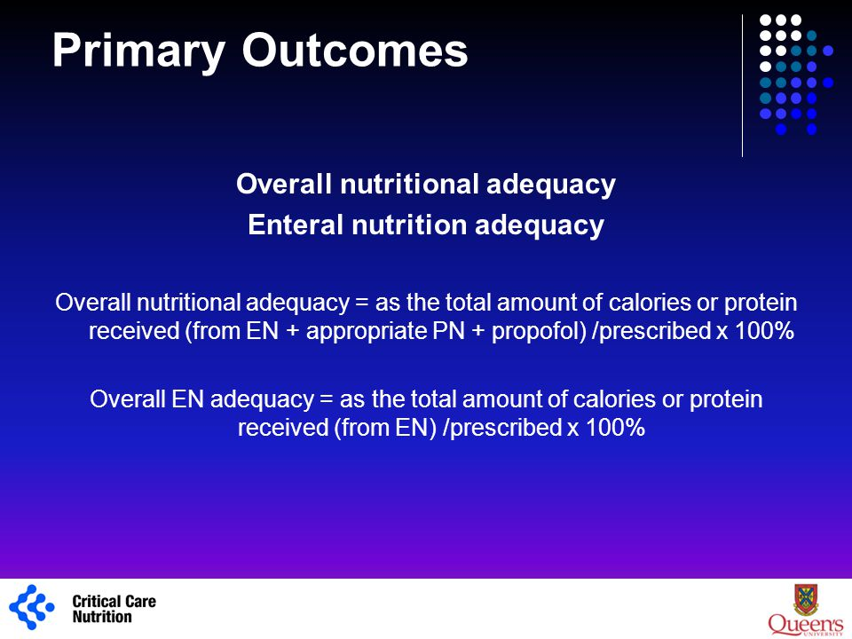 Overall nutritional adequacy Enteral nutrition adequacy